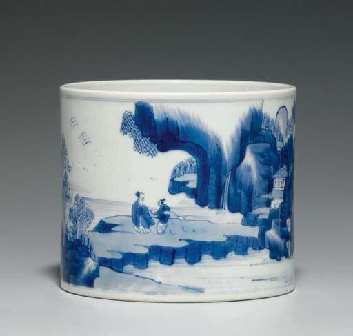 A_blue_and_white_brushpot__bitong__Kangxi_period__1662_1722_