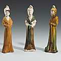 A group of three sancai-glazed pottery female attendants, tang dynasty (618-906)