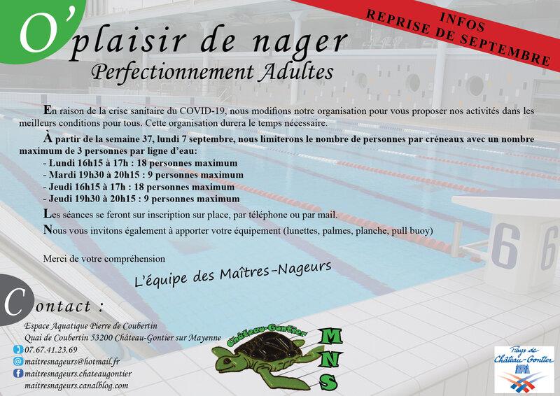 Affiche REPRISE COVID 19 septembre 2020 natation
