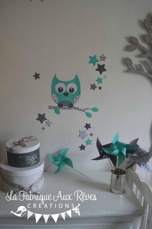 stickers hibou chouette décoration chambre enfant fille bébé garçon étoiles turquoise caraïbe gris