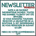 Newsletter de la boutique