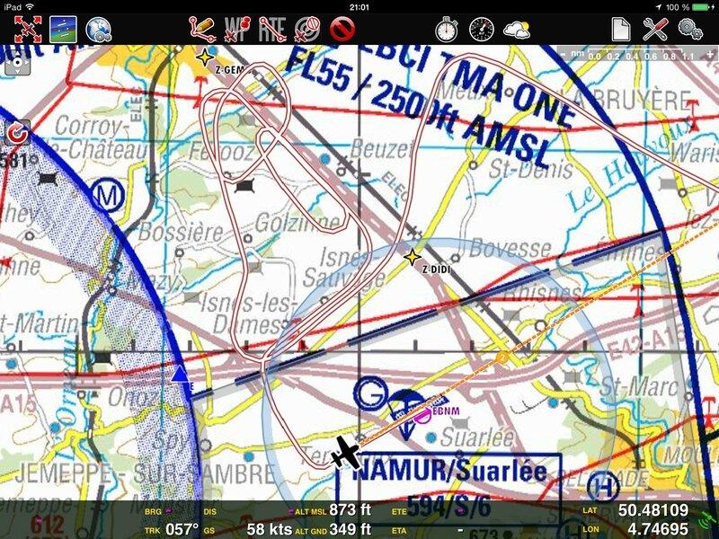 Trace GPS arrivée sur Namur
