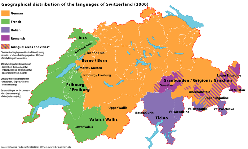Geographical distribution of the languages of Switzerland