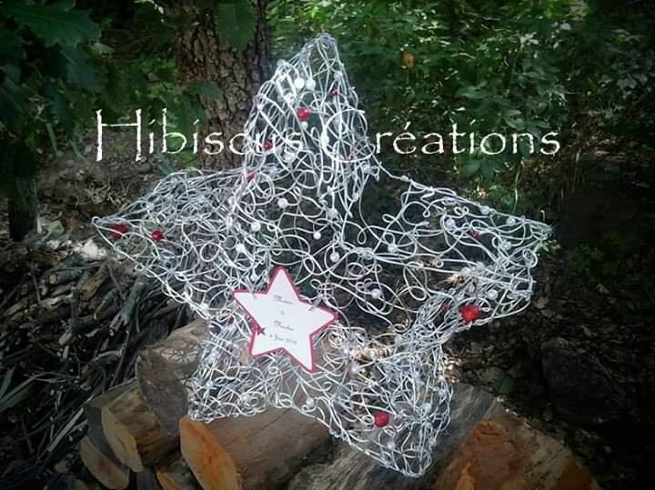 Urne étoile en fil aluminium