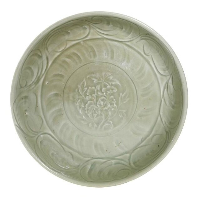 A carved 'Longquan' celadon 'Peony' dish, Yuan-Ming dynasty (1279-1644)