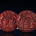 A finely carved ming cinnabar lacquer box and cover, ming dynasty, 16th-17th century