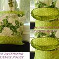 sac fleuri vert à pois intérieur