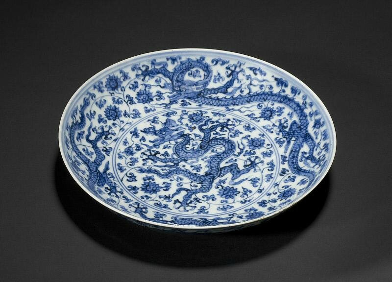 Dish with dragons among lotus, Ming dynasty (1368-1644), Zhengde mark of the period (1506-1521)