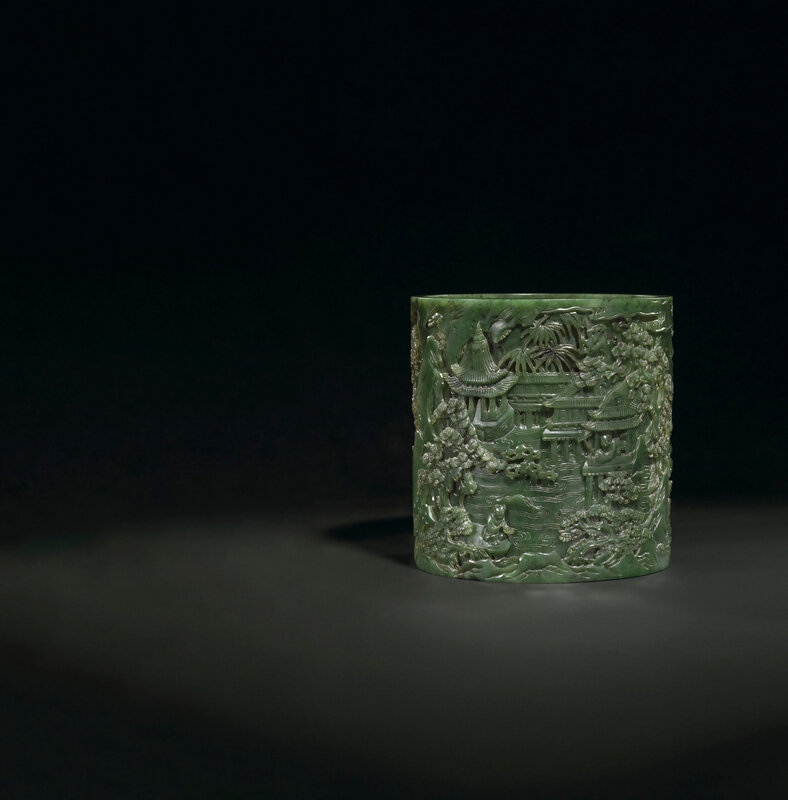 2019_CKS_17114_0131_000(a_finely_carved_spinach-green_jade_brush_pot_bitong_qianlong_period)