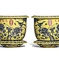 A pair of dayazhai yellow-ground grisaille-decorated jardinieres and stands, guangxu period (1875-1908)