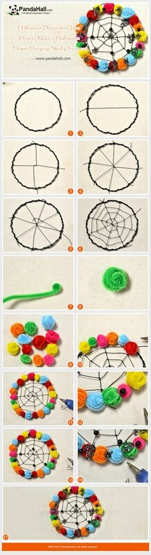 Halloween-Decoration-Idea-How-to-Make-a-Halloween-Flower-Hanging-Skull-Ornament