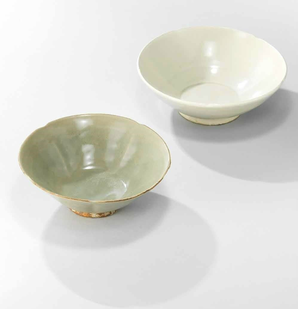 A Xing foliate bowl and a Yaozhou foliate bowl, Five Dynasties (907-960)