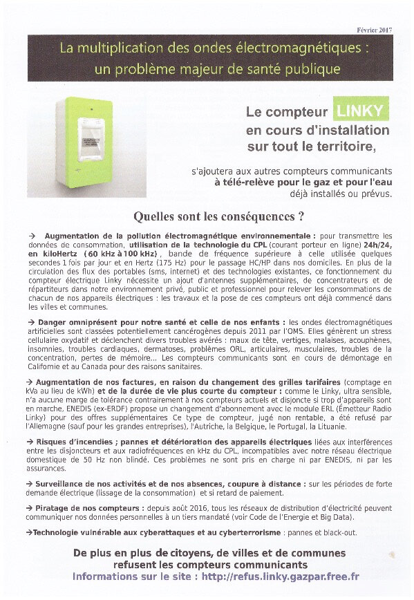 Depliant Linky Ondes Electromagnetiques Risques Sanitaires