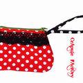 Pochette / sac à main retro rouge à pois et dentelle