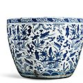 A blue and white 'Lotus pond' jardinière, Ming Dynasty, 16th century