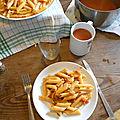 Pennes bolognaise à la diable avec potage hot tomate au bouillon