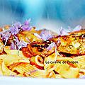 Filet de poulet mariné sur pâtes sauce tomate