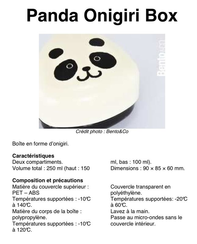 Panda Onigiri Box: fiche détaillée