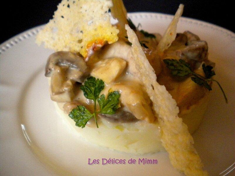 Emincés de dinde aux champignons et purée de pommes de terre aux échalotes confites 2