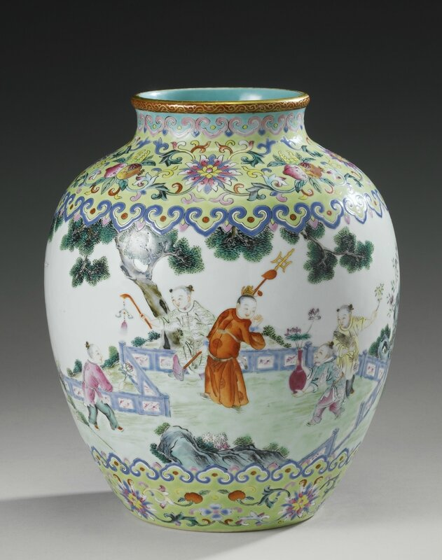 A famille-rose 'Boys at play' ovoid vase, Jiaqing seal mark and period (1796-1820)