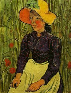 Portrait de jeune paysanne assise devant un champ de ble juin 1890