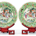 A pair of Famille Rose lime green-ground dishes, Daoguang six-character seal marks in iron red and of the period (1821-1850)