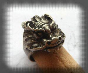 Bague Homme Dragon Totem Argent du Tibet Taille 56_57