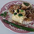 Sauté de veau de pentecôte à l'os à moelle champignons pâtes fraîches fettucini et asperges vertes, bonne fête de la pentecôte