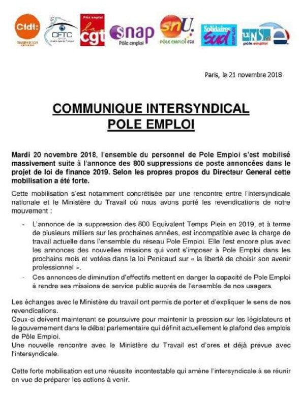 Communiqué Intersyndical suite à la Grève du 20 novembre 2018