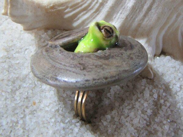 Bague Ovni céramique chat oiseau (3)