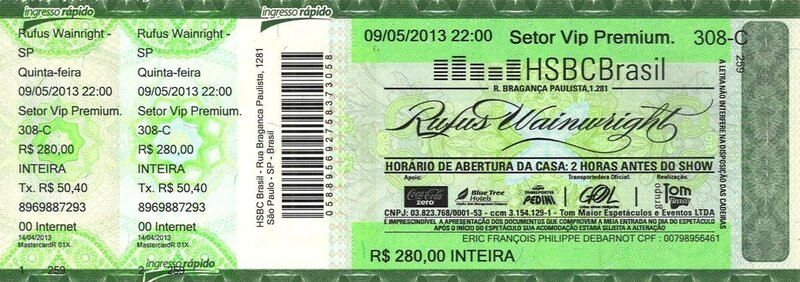 2013 Rufus Wainwright HSBC Brasil SP Billet