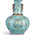 A very rare famille-rose cloisonné-imitation bottle vase, qing dynasty, qianlong period (1736-1795)