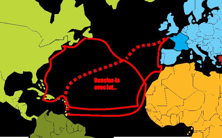 carte monde trajet
