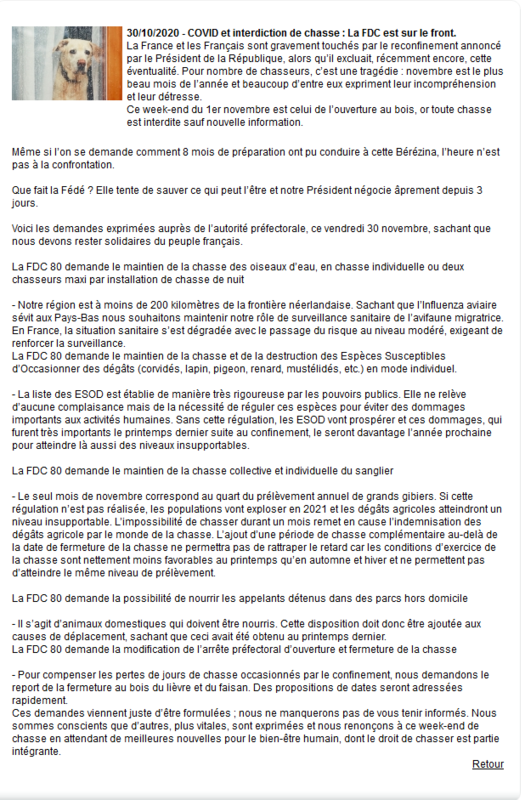 Screenshot_2020-10-31 COVID et interdiction de chasse La FDC est sur le front - actualites - Fédération des Chasseurs de la[
