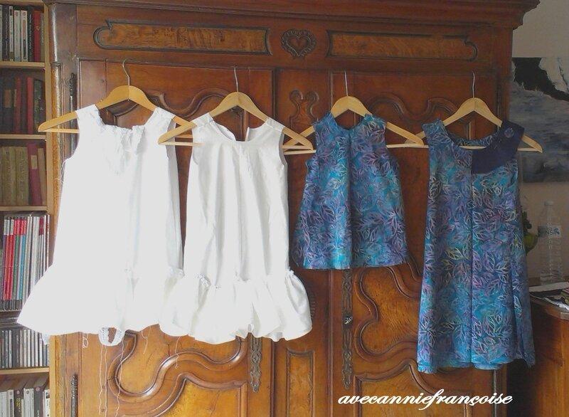 les 4 robes en cours de travail