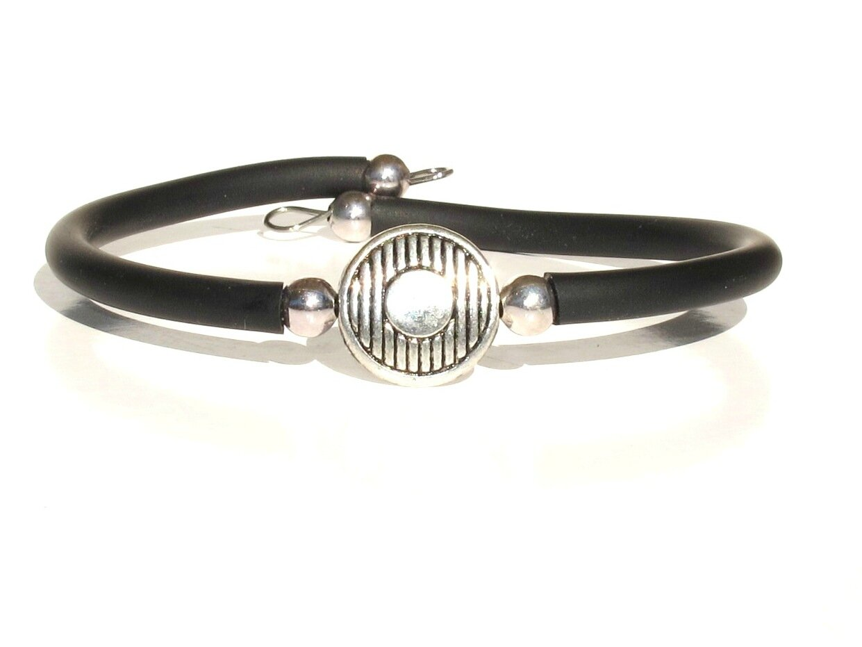 bacelet perle métal ronde rayée cordon noir2