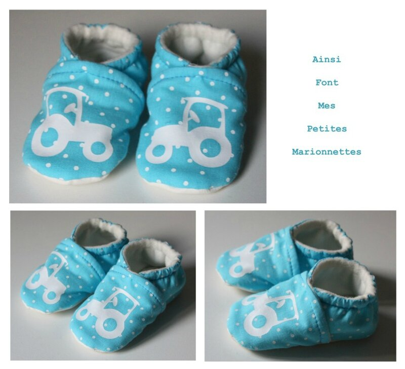 chausson turquoise pois