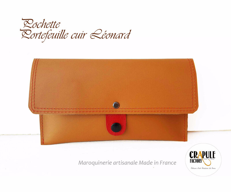 pochette portefeuille cuir artisanal made in France crapule factory - création : stephanie Erlich-Maujean