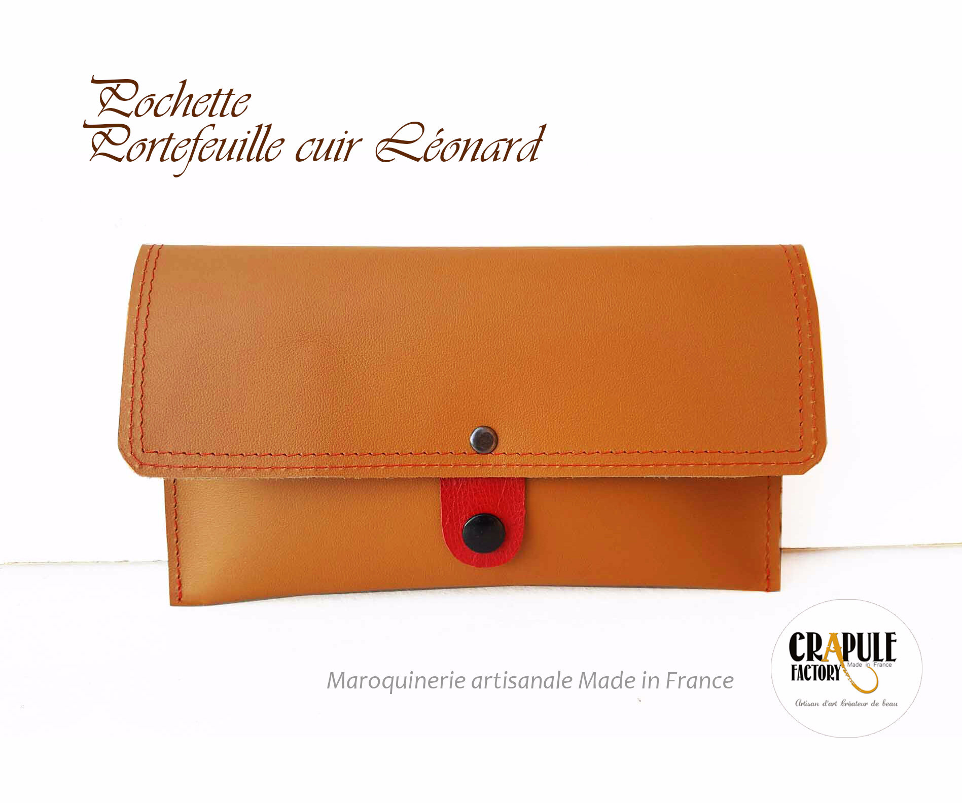 Pochette, portefeuille CUIR - artisanat made in France - Collection LEONARD fdd72b45828