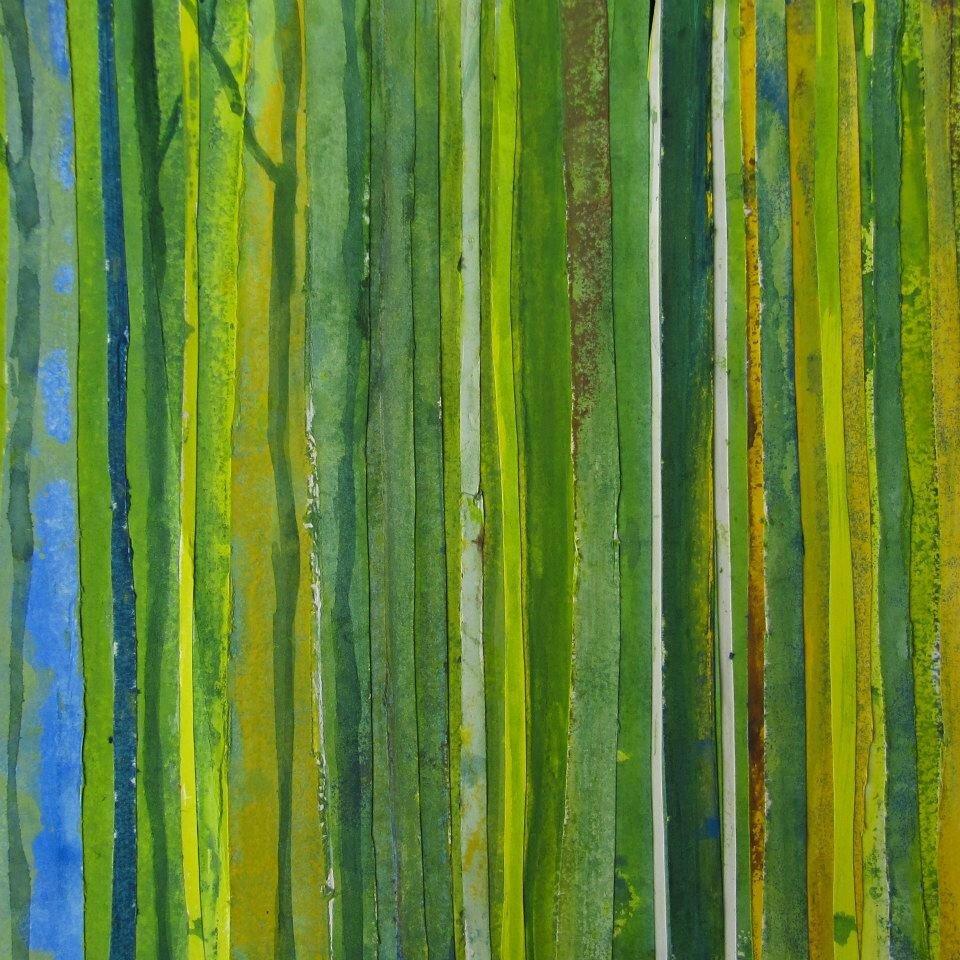 Forêt #12, 2011, acrylique, collage et coulures sur papier, 42 x 30 cm
