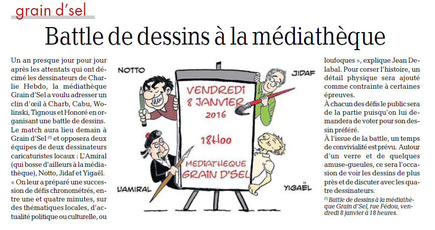 01 - 2016 - Battle Dessins Médiathèque Carcassonne - INDEPENDANT
