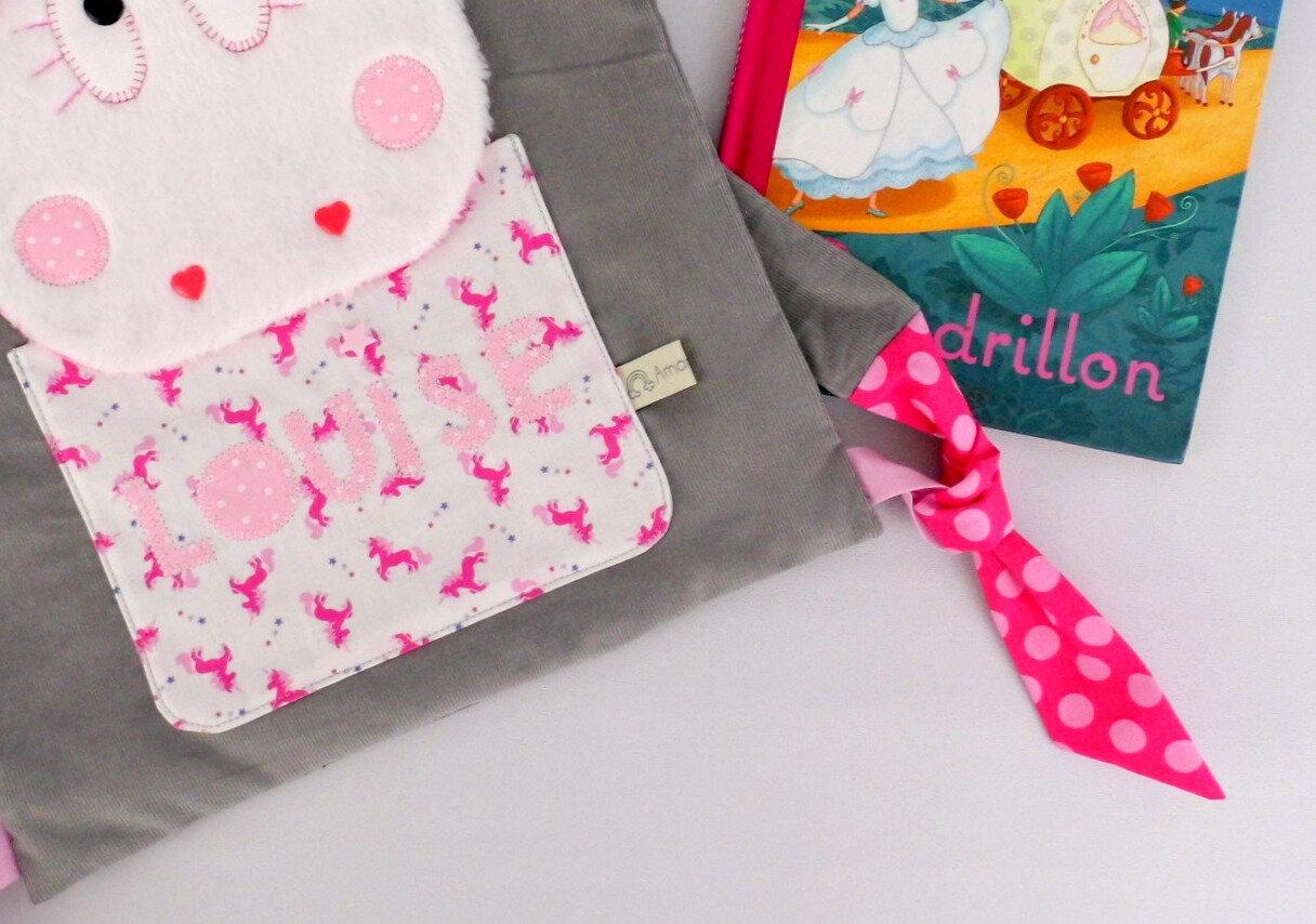 Sac à dos fille licorne personnalisé prénom Louise couleurs gris rose cartable rentrée école maternelle crèche unicorn backpack personalized name