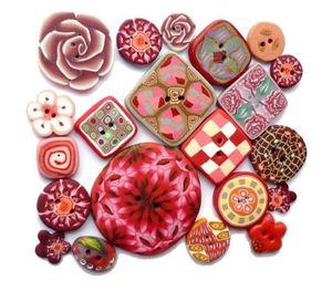set of 21 buttons pink