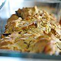 Cake ricotta, poulet et pignons