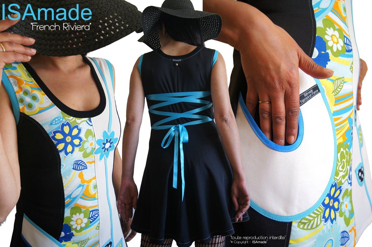 MOD 425B robe colorée fleurie noir bleu turquoise orange vert anis chic fantaisie originale made in france