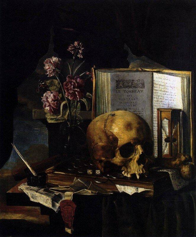 Simon RENARD DE SAINT-ANDRÉ (Paris 1613-1677) Nature morte à la Vanité, Huile sur toile, Collection particulière