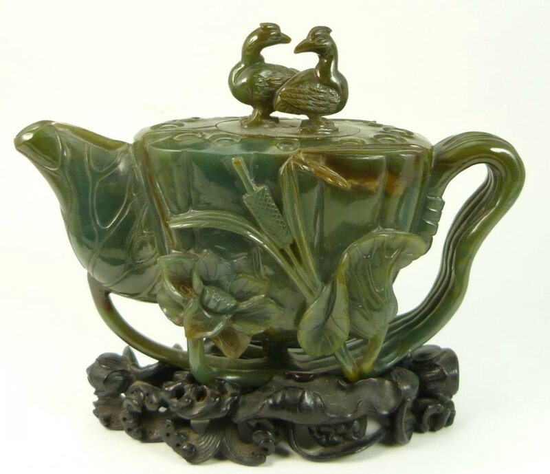 Antique Chinese Qing Dynasty period green jadeite figural lotus blossom and lily pad teapot