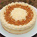 Gâteau crème mousseline chocolat blanc, croustillant chocolat speculoos et poires