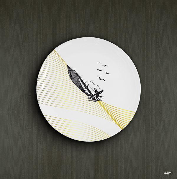 Voiliers, A. Duo, porcelaine D.19cm / 14,00€ l'unité
