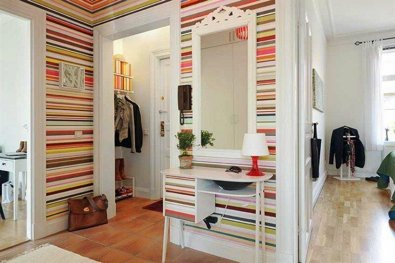 déco-entrée-maison-moderne-rayure-horizontale-multicolore
